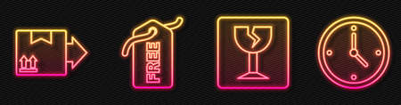 Set line Fragile broken glass, Cardboard box with traffic symbol, Price tag with Free and Fast time delivery. Glowing neon icon. Vector. Stock Illustratie