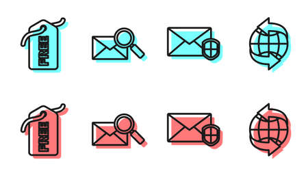 Set line Envelope with shield, Price tag with Free, Envelope with magnifying glass and Worldwide icon. Vector.