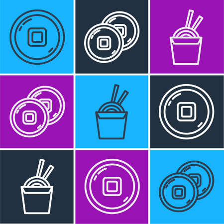 Set line Chinese Yuan currency, Asian noodles in paper box and chopsticks and Chinese Yuan currency icon. Vector.