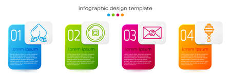 Set line Peach fruit, Chinese Yuan currency, Yin Yang and envelope and Chinese paper lantern. Business infographic template. Vector.