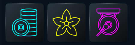 Set line Chinese Yuan currency, Gong and Lotus flower. Black square button. Vector.