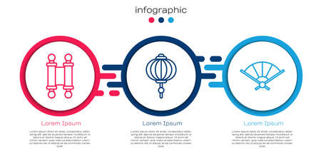 Set line Decree, paper, parchment, scroll, Chinese paper lantern and Paper chinese folding fan. Business infographic template. Vector.