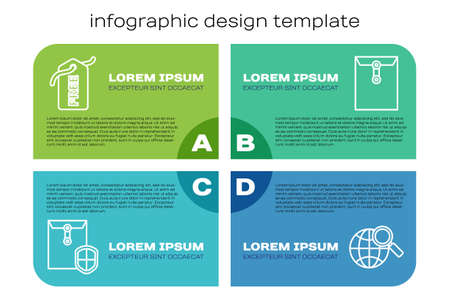 Set line Envelope with shield, Price tag with Free, Magnifying glass with globe and Envelope. Business infographic template. Vector.
