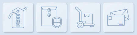 Set line Price tag with Free, Hand truck and boxes, Envelope with shield and Envelope. White square button. Vector.