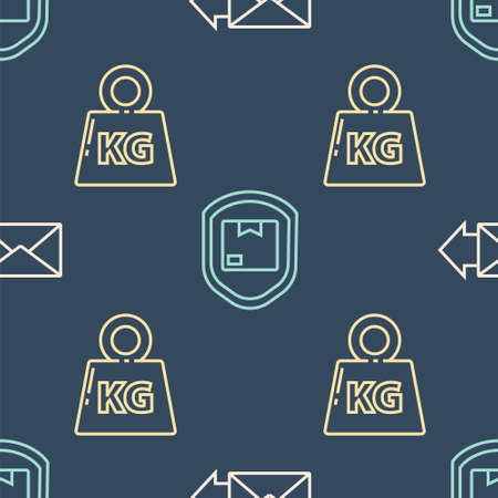 Set line Envelope, Weight and Delivery pack security with shield on seamless pattern. Vector.