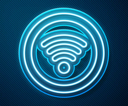 Glowing neon line WiFi wireless internet network symbol icon isolated on blue background. Vector Illustration. Vectores