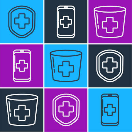 Set line Medical shield with cross, Nurse hat with cross and Emergency mobile phone call to hospital icon. Vector.