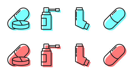 Set line Inhaler, Medicine pill or tablet, Medical bottle with nozzle spray and Medicine pill or tablet icon. Vector.