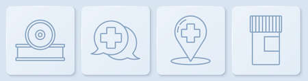 Set line Otolaryngological head reflector, Map pointer with cross hospital, Dialogue with the doctor and Medicine bottle. White square button. Vector. 写真素材 - 150645044