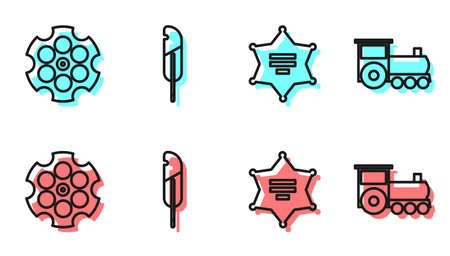 Set line Hexagram sheriff, Revolver cylinder, Feather pen and Retro train icon. Vector.