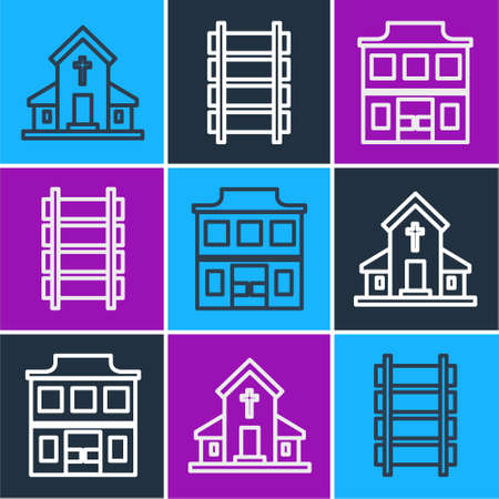 Set line Church building, Wild west saloon and Railway, railroad track icon. Vector. Vectores
