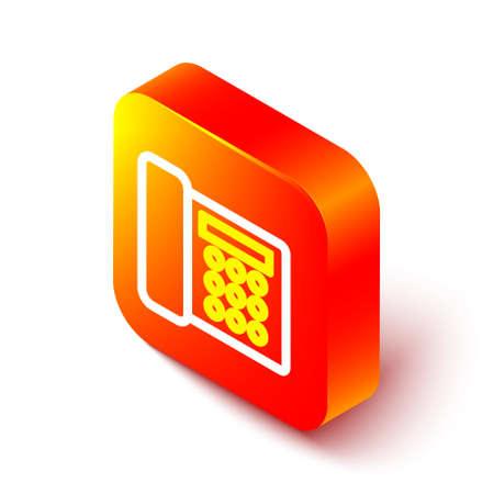 Isometric line Telephone icon isolated on white background. Landline phone. Orange square button. Vector Illustration.