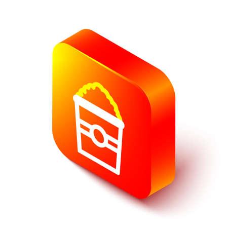 Isometric line Popcorn in cardboard box icon isolated on white background. Popcorn bucket box. Orange square button. Vector Illustration. Illustration