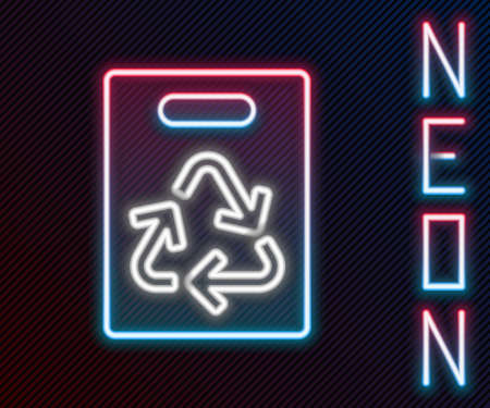 Glowing neon line Paper shopping bag with recycle icon isolated on black background. Bag with recycling symbol. Colorful outline concept. Vector Illustration.