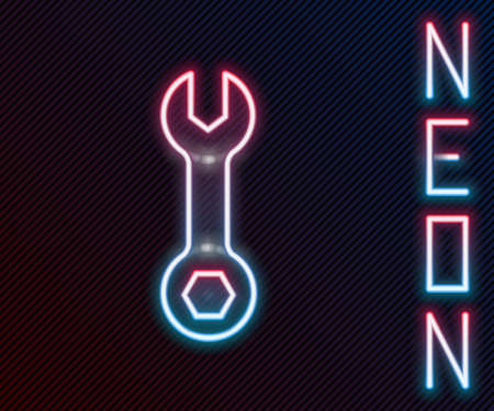 Glowing neon line Wrench spanner icon isolated on black background. Colorful outline concept. Vector Illustration.