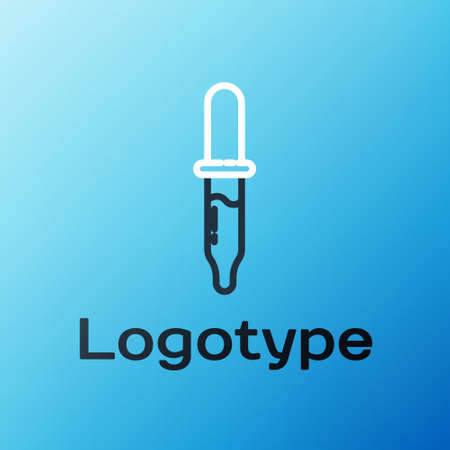 Line Pipette icon isolated on blue background. Element of medical, chemistry lab equipment. Medicine symbol. Colorful outline concept. Vector Illustration.