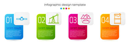 Set line Industry pipes and valve, Oil pump or pump jack, Oilfield and Barrel oil leak. Business infographic template. Vector.