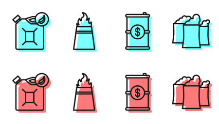Set line Barrel oil with dollar, Bio fuel canister, Oil rig with fire and Oil industrial factory building icon. Vector.