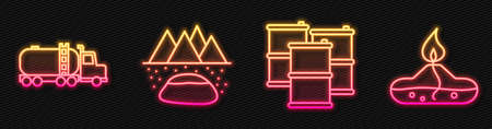 Set line Barrel oil, Tanker truck, Oilfield and Alcohol or spirit burner. Glowing neon icon. Vector.