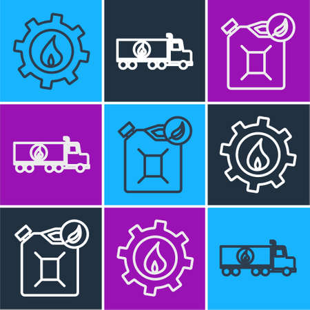 Set line Oil industrial factory building, Bio fuel canister and Tanker truck icon. Vector.