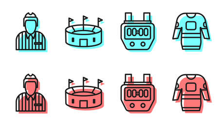Set line Stopwatch, Hockey judge, referee, arbiter, Hockey stadium and Hockey jersey icon. Vector. 向量圖像