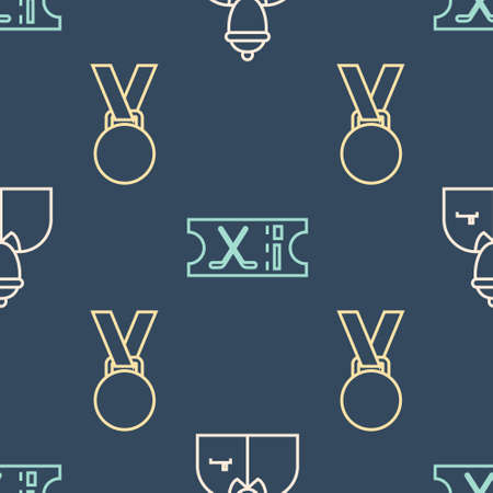 Set line Hockey coach, Medal and Hockey sports ticket on seamless pattern. Vector.