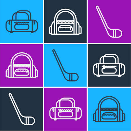 Set line Sport bag, Ice hockey stick and Sport bag icon. Vector.