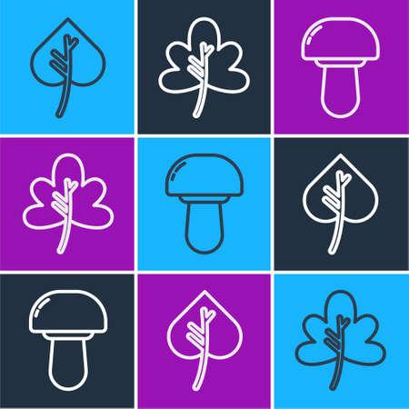 Set line Leaf or leaves, Mushroom and Leaf or leaves icon. Vector.