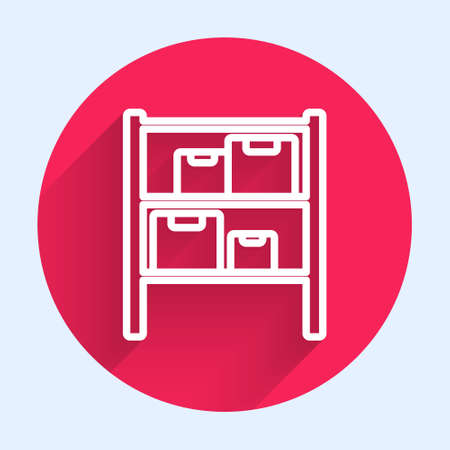 White line Warehouse icon isolated with long shadow. Red circle button. Vector Illustration. Ilustração