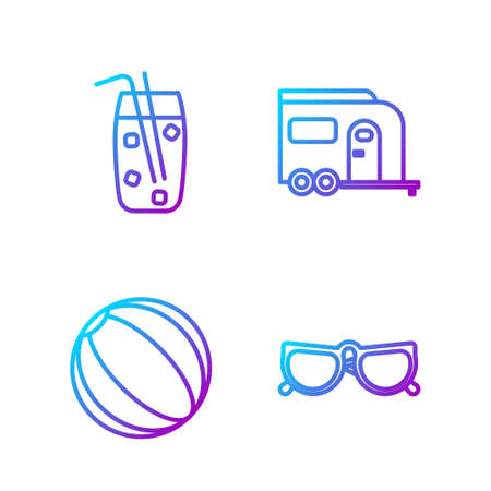 Set line Glasses, Beach ball, Cocktail and alcohol drink and Rv Camping trailer. Gradient color icons. Vector.