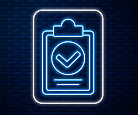Glowing neon line Verification of delivery list clipboard icon isolated on brick wall background. Vector Illustration. Stock Illustratie
