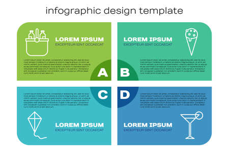 Set line Kite, Cooler bag and water, Martini glass and Ice cream in waffle cone. Business infographic template. Vector. Stock Illustratie