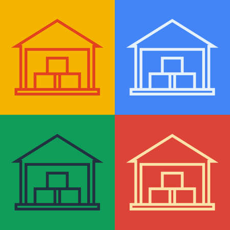 Pop art line Warehouse icon isolated on color background. Vector Illustration.