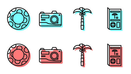 Set line Tropical palm tree, Rubber swimming ring, Photo camera and Travel brochure icon. Vector.