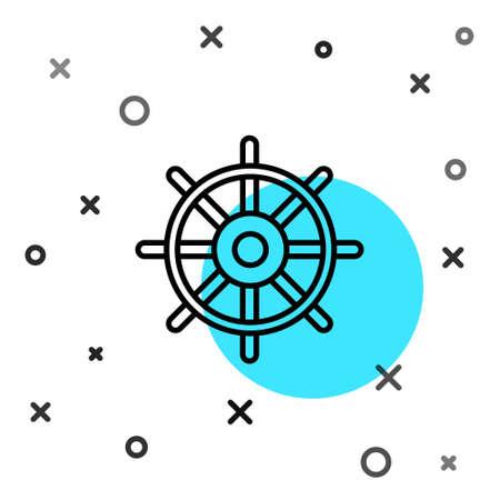 Black line Ship steering wheel icon isolated on white background. Random dynamic shapes. Vector Illustration.