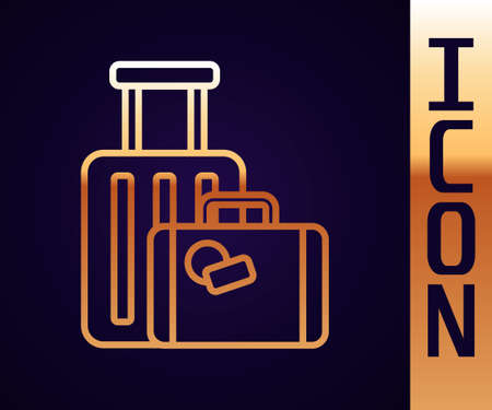 Gold line Suitcase for travel icon isolated on black background. Traveling baggage sign. Travel luggage icon. Vector Illustration.