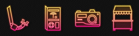 Set line Photo camera, Snorkel, Travel brochure and Street stall with awning. Glowing neon icon. Vector.