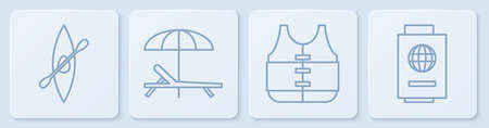 Set line Kayak or canoe and paddle, Life jacket, Sunbed and umbrella and Passport with ticket. White square button. Vector.