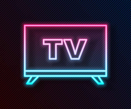 Glowing neon line Smart Tv icon isolated on black background. Television sign. Vector Illustration. 向量圖像