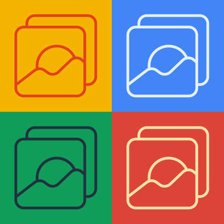 Pop art line Photo icon isolated on color background. Vector Illustration.