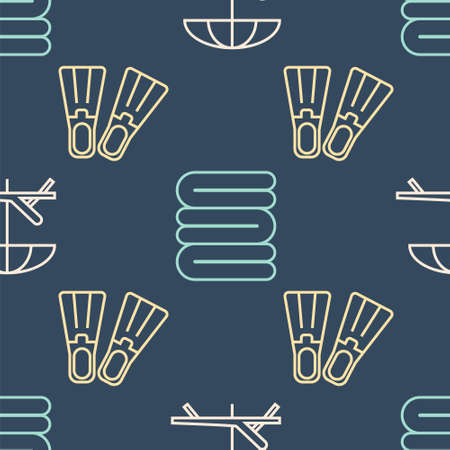 Set line Sunbed and umbrella, Rubber flippers and Towel stack on seamless pattern. Vector.