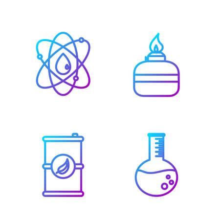 Set line Oil petrol test tube, Bio fuel barrel, Atom and Alcohol or spirit burner. Gradient color icons. Vector. Stock Illustratie