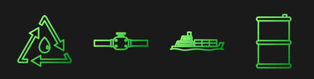 Set line Oil tanker ship, Oil drop with recycle, Industry pipes and valve and Barrel oil. Gradient color icons. Vector.