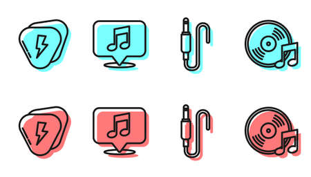 Set line Audio jack, Guitar pick, Musical note in speech bubble and Vinyl disk icon. Vector.