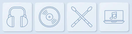 Set line Headphones, Drum sticks, Vinyl disk and Laptop with music note. White square button. Vector.