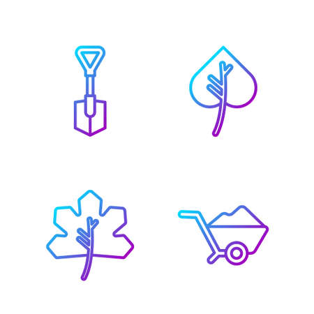 Set line Wheelbarrow with dirt, Leaf or leaves, Shovel and Leaf or leaves. Gradient color icons. Vector. Vettoriali
