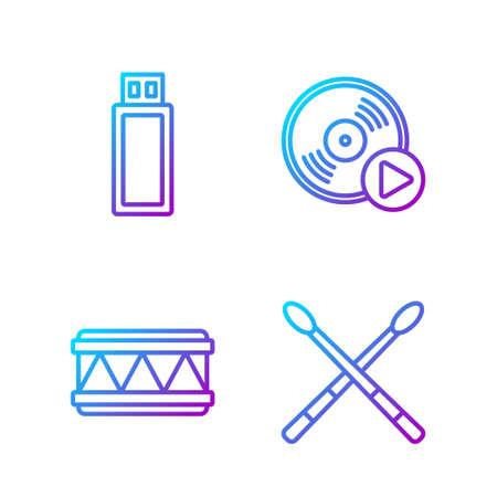 Set line Drum sticks, Drum, USB flash drive and Vinyl disk. Gradient color icons. Vector. Illusztráció