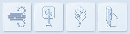 Set line Wind, Leaf or leaves, Tree and Meteorology thermometer. White square button. Vector.