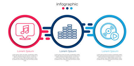 Set line Musical note in speech bubble, Music equalizer and Vinyl disk. Business infographic template. Vector.