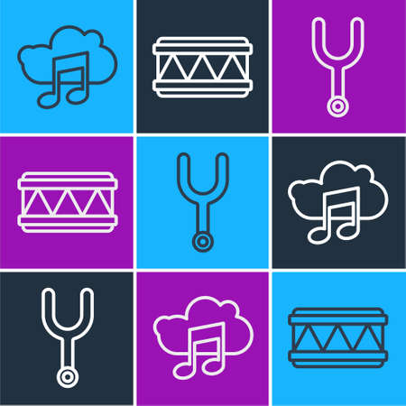 Set line Music streaming service, Musical tuning fork and Drum icon. Vector.